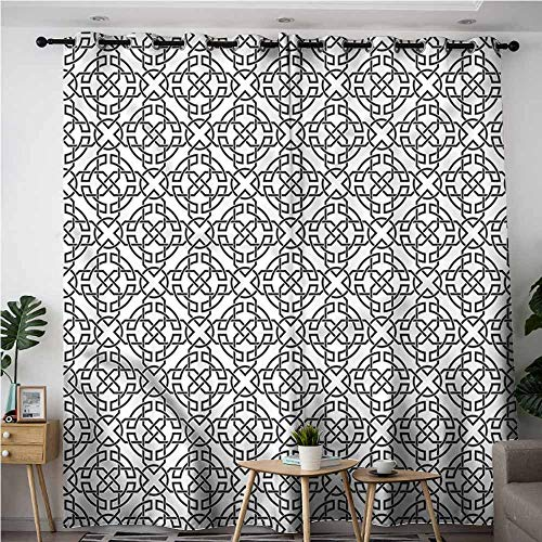 AndyTours Extra Wide Patio Door Curtain,Celtic Antique Knot Motifs,Hipster Patterned,W84x96L (Curtains Knot Top)