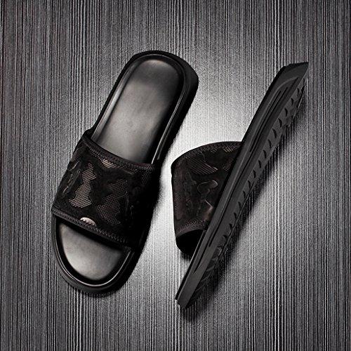 Pantofole 39 Pantofole Aperta Spiaggia All'aria Uomo Outdoor Sandali In Tempo Trends Estate Personality Pelle Da Black Da Libero rTFwqr