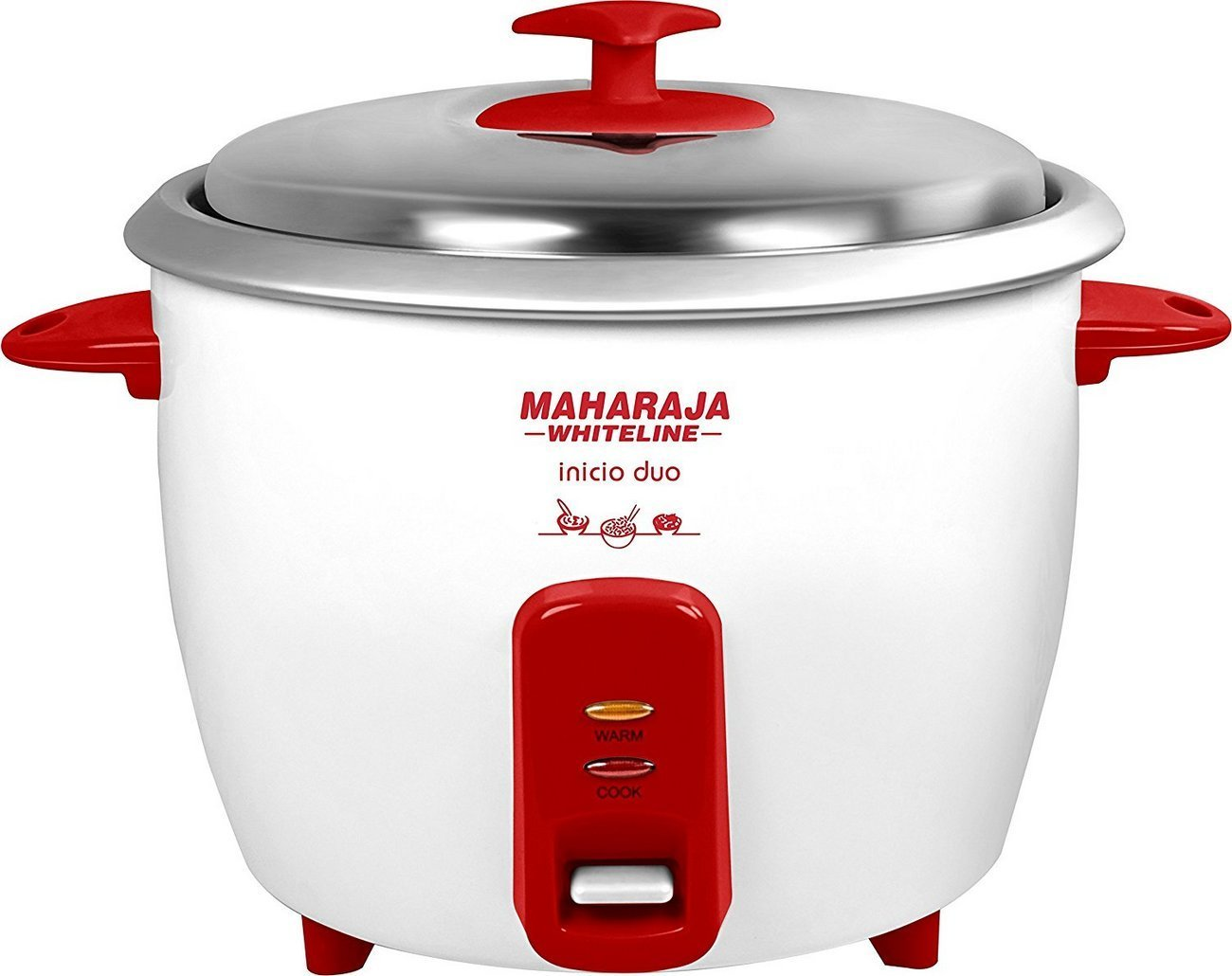 Maharaja Whiteline Inicio Duo 750-Watt Rice Cooker (Red and White)