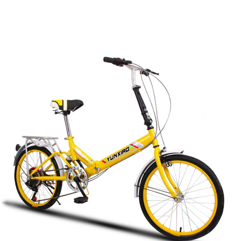 学生折りたたみ自転車, 折りたたみ自転車 女性のサイクリング 超軽量 ポータブル ミニ 男性 折り畳み自転車 B07DFG965P 20inch|イエローB イエローB 20inch