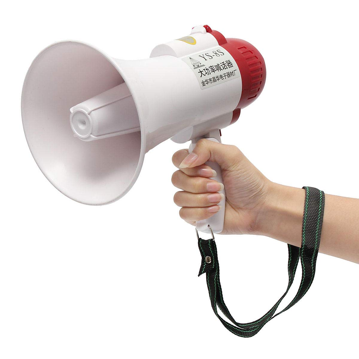 Portable Speaker Megaphone Strap Grip Loudspeaker Record Play with Siren Anddo
