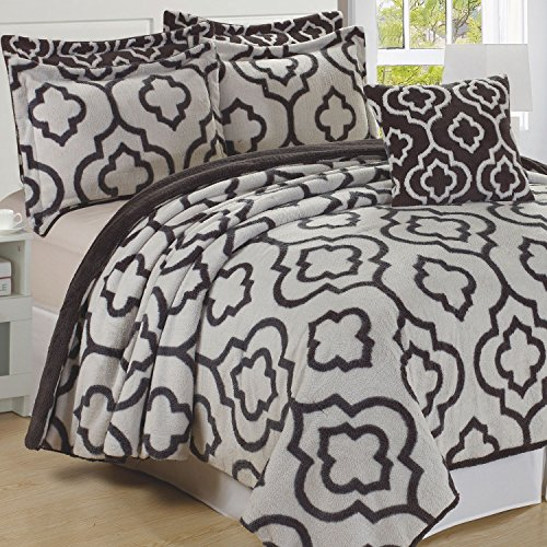 "Home Soft Things Jacquard Bedspread & Coverlet Set 102"" x 90"" Gray"