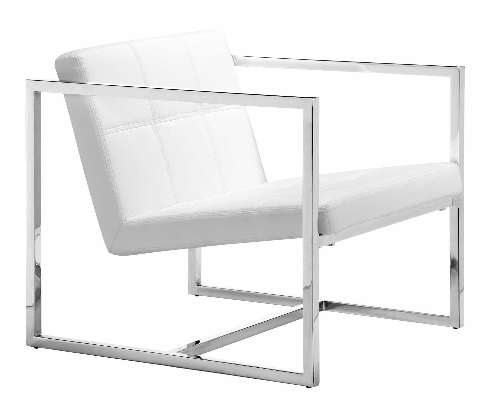 Zuo Modern Carbon Chair White - Chrome Steel Length 25.2 Width 28.3 - living-room-furniture, living-room, accent-chairs - 61K7fS1b4hL -