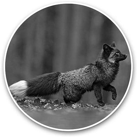 Vinyl Stickers (Set of 2) 15cm Black & White - Wild Black Silver Fox Animal Laptop Luggage Tablet #42584