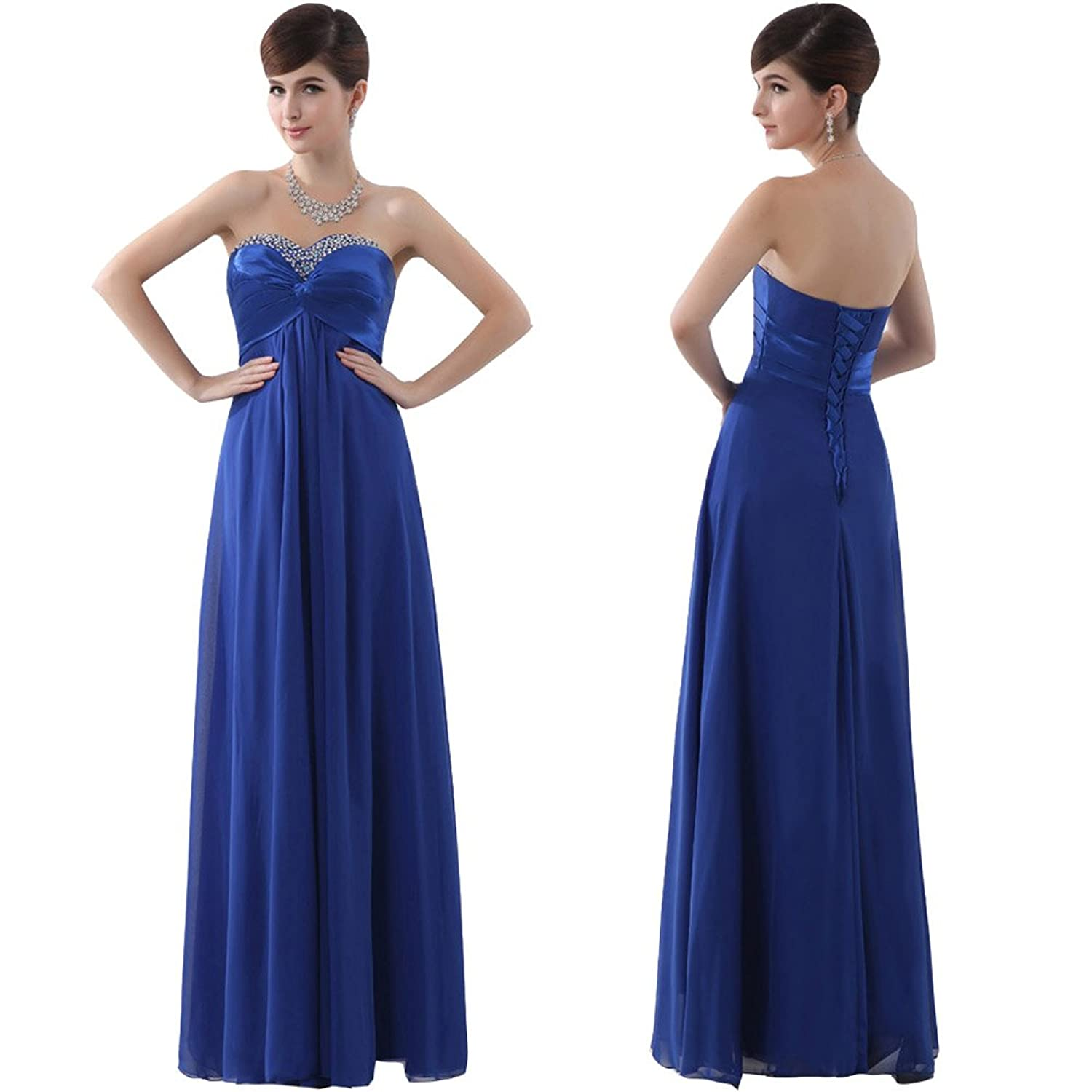XinGe Women's Long A-line Chiffon Strapless Neck Pleated Evening Dress Prom Dress