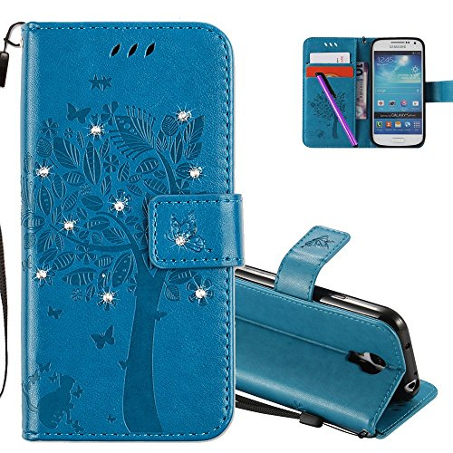 HMTECHUS Samsung Galaxy S4 Mini case 3D Crystal Embossed Love Tree Cat Butterfly Handmade Bling PU Flip Stand Card Holders Wallet Cover Samsung Galaxy S4 Mini Wishing Tree Diamonds Blue KT