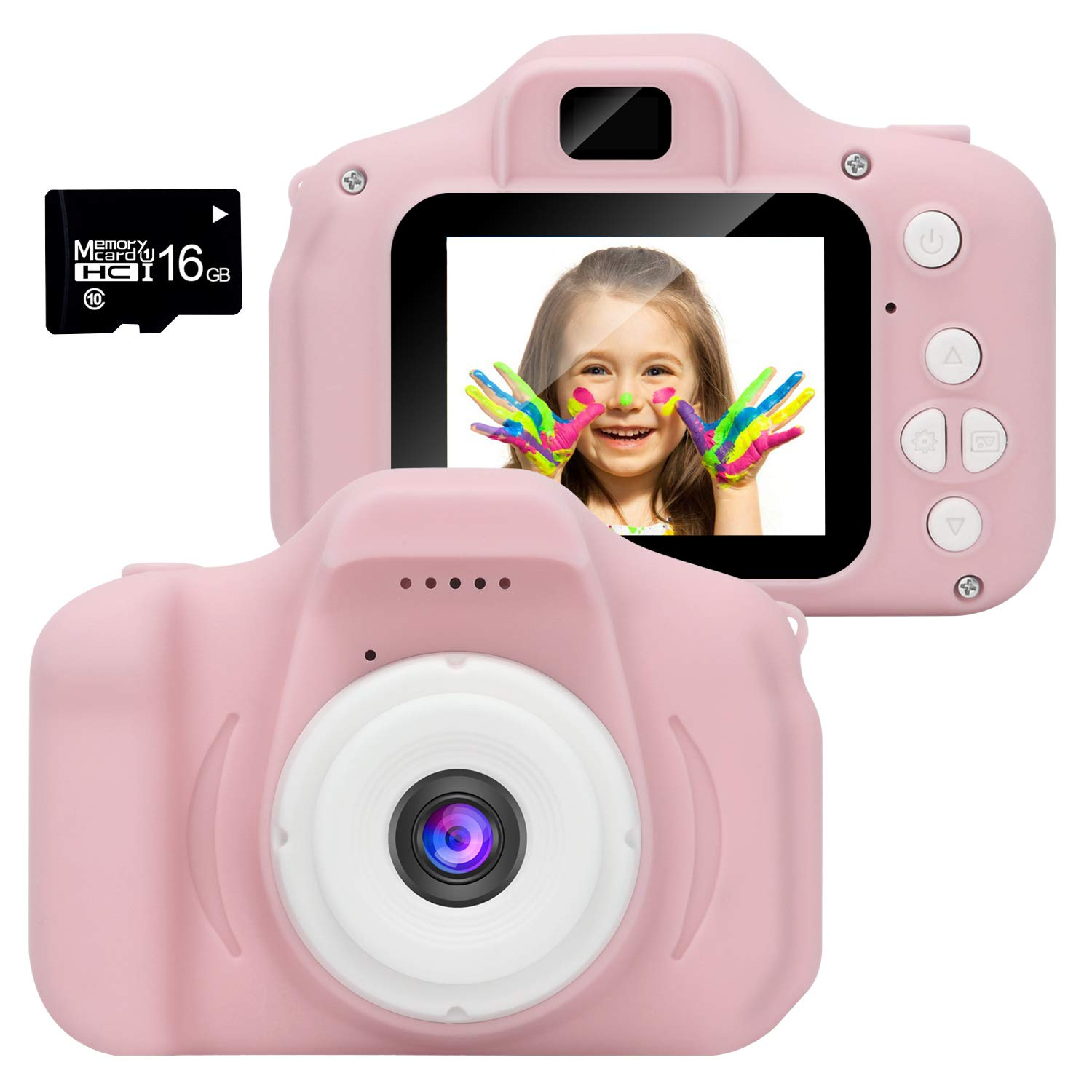 WABOLIN Kids Digital Video Camera for Girls Age 3-8 , Mini Pink Rechargeable Children Camera Shockproof 8MP HD Toddler Cameras Child Camcorder (16GB Memory Card Included) by WABOING (Image #1)