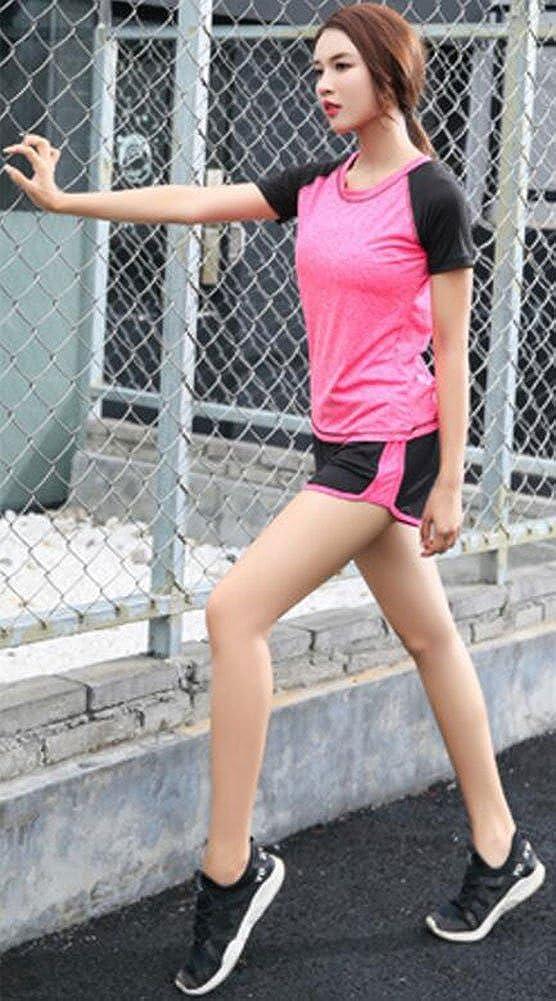 XL, Rose Rot Zetiy Damen 5er-Set Strech Tights Sport Yoga Trainingsanzug