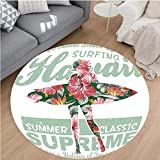 Nalahome Modern Flannel Microfiber Non-Slip Machine Washable Round Area Rug-pical Hawaii Hibiscus Surfing Girl Silhouette Surfboard Retro Themed Artprint Coral Green area rugs Home Decor-Round 79''