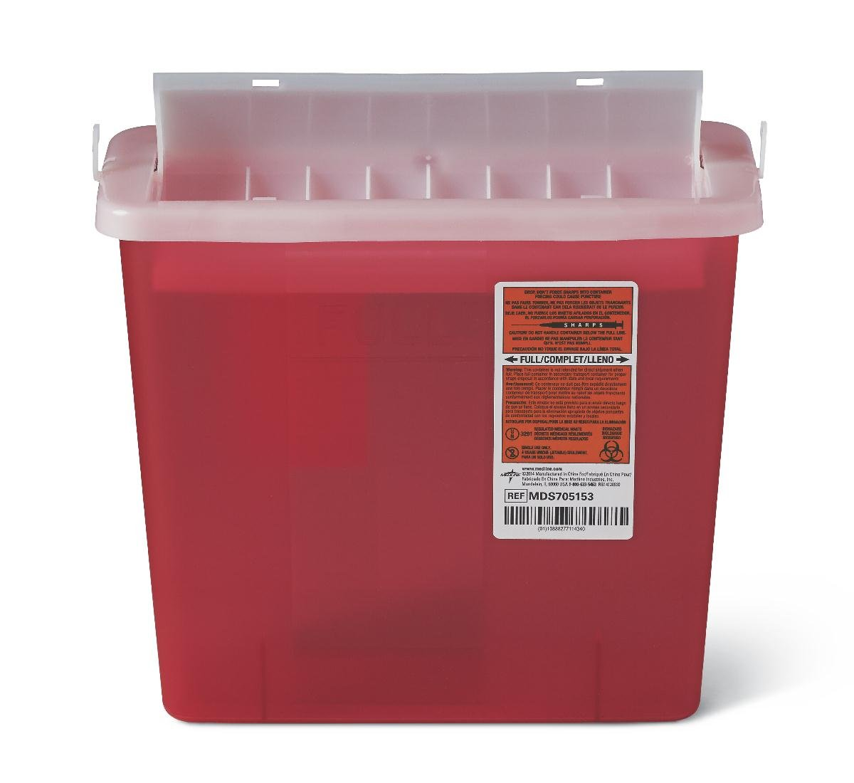 Medline MDS705153H Biohazard Patient Room Sharps Containers, 1.250 gal, Red