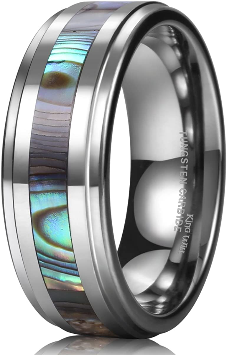 King Will Mens 8mm Rose Gold Plated Tungsten Carbide Wedding Ring Colorful Fragments Inlay Domed Style