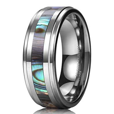 King Will NATURE Tungsten Carbide Ring Engagement Wedding Band Abalone Shell Inlay Polished Finish Step Edge