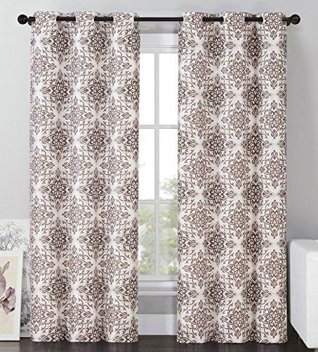 2 Blackout Room Darkening Window Curtains Grommet Panel Pair Drapes Thermal Brown Medallion 96″