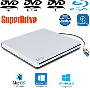 USB 3.0 Blu-ray SuperDrive External Portable Blue-ray Movies DVD Players for Apple iMac 27 Inch Mid-2017 A1419 Aluminum Retina 5K Computers MNE92LL/A, 8X DVD-R/RW DL CD-R Burner Optical Drive