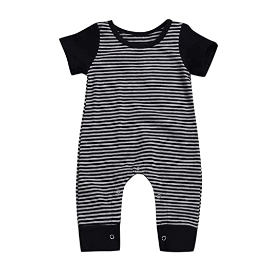 542d4dea8aa0 Amazon.com  Lurryly❤Girls Boys Striped Romper Newborn Toddler Baby ...