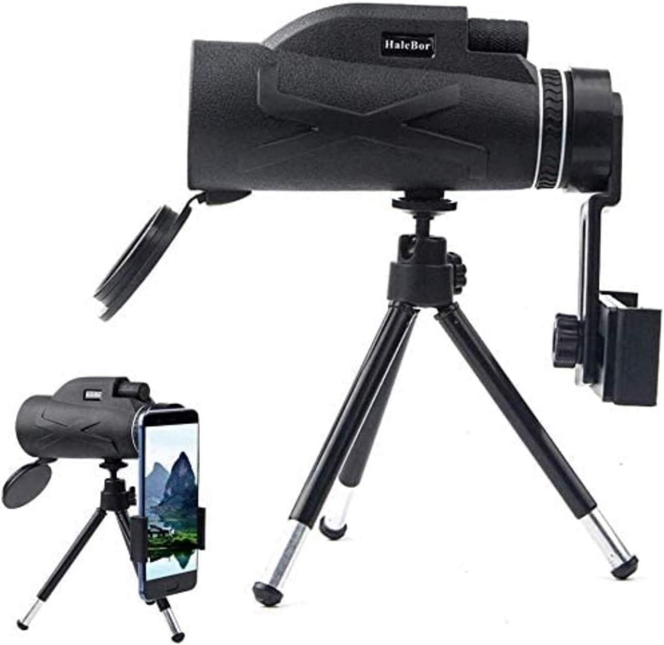 LJYY Telescopio monocular de Alta Potencia 80x100, monoculares portátiles compactos, Alcance a Prueba de Agua con Clip para teléfono y trípode para teléfono Inteligente, observación de Aves, Caza