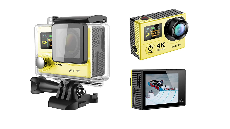 Ergou Action Kamera 4 Karat Dual Screen Ultra-Thin Wifi Infrarot Fernbedienung Im Freien Wasserdichte Kamera Sport Fahrradhelm DV