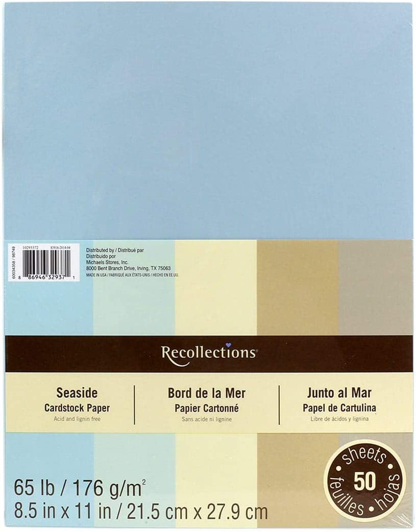 Value 2-pack 8 1//2 X 11 Cape Cod Blues Recollections Cardstock Paper 50 Sheets