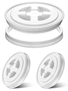 Chunful 3 Pieces 5 Gallon Screw Top Lids Bucket Seal Lid Leak Proof for Plastic Bucket Compatible with Gamma (White)