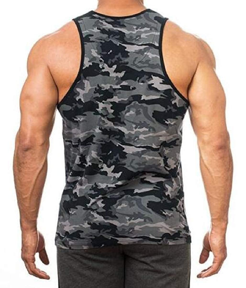 Xswsy XG Mens Sleeveless Fitness Muscle Bodybuilding Camouflage Tank Tops