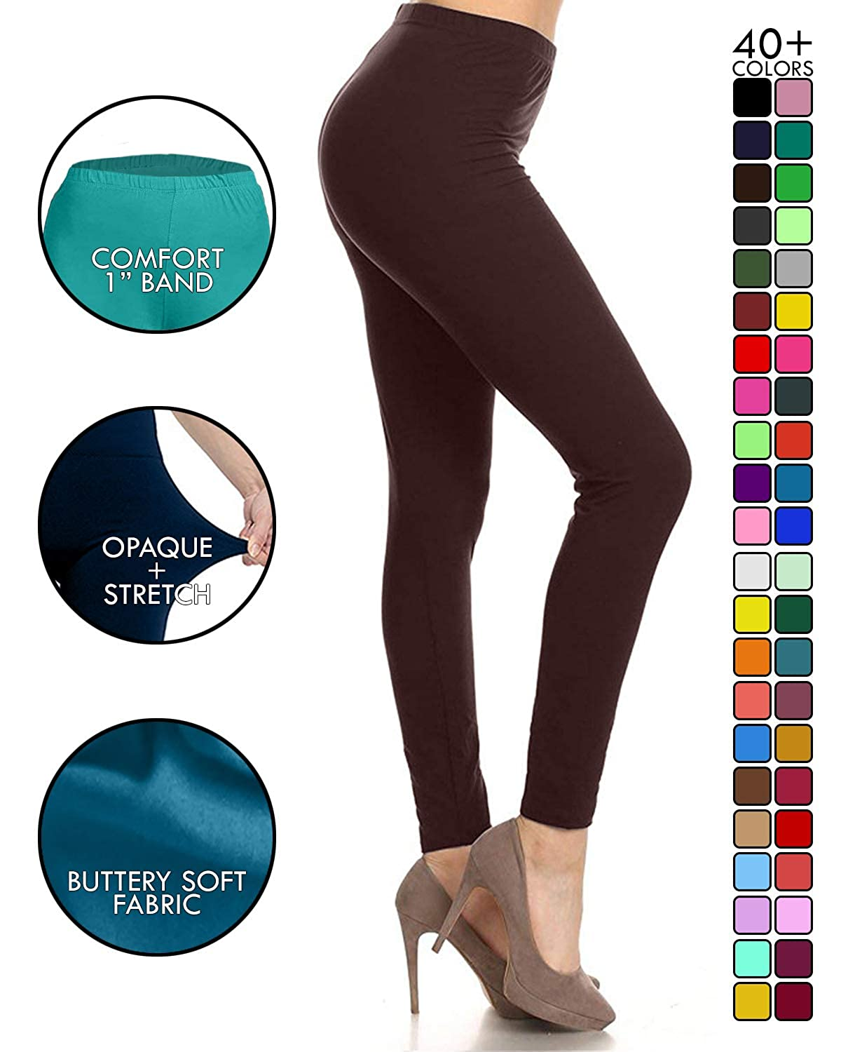 93faf6287f Leggings Depot Buttery Soft Classic Leggings - 42+.