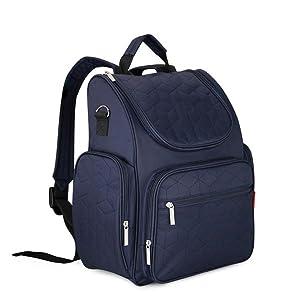 Bebamour Multifunction Diaper Backpack Waterproof Nappy Bag Backpacks (Dark blue)