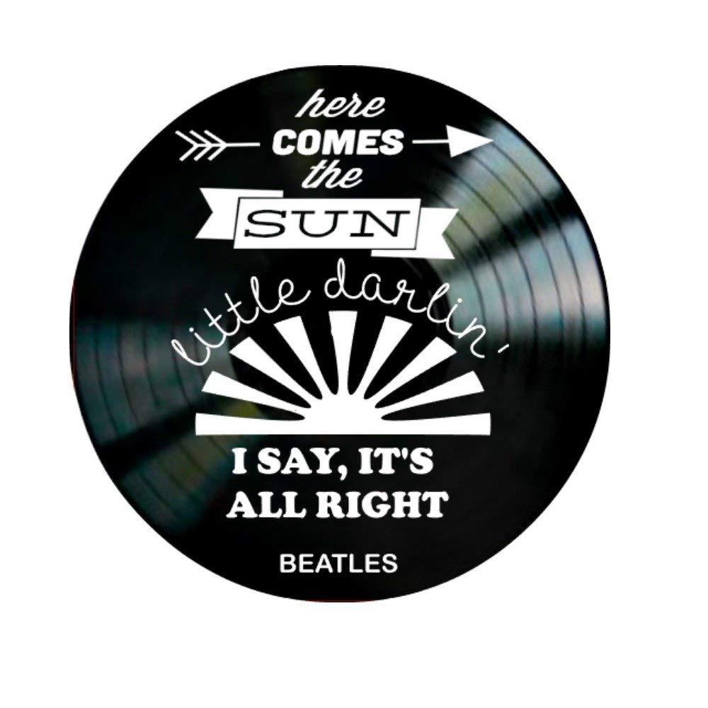 Beatles Here Comes the Sun song Lyrics on a Vinyl Record Album Wall Art