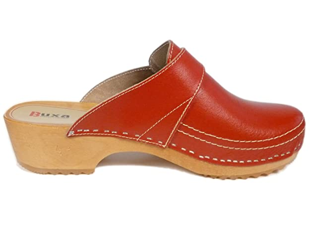 Buxa Unisex Braun Holz und Leder Clogs / Pantoletten, Fersenriemen, Größe 38