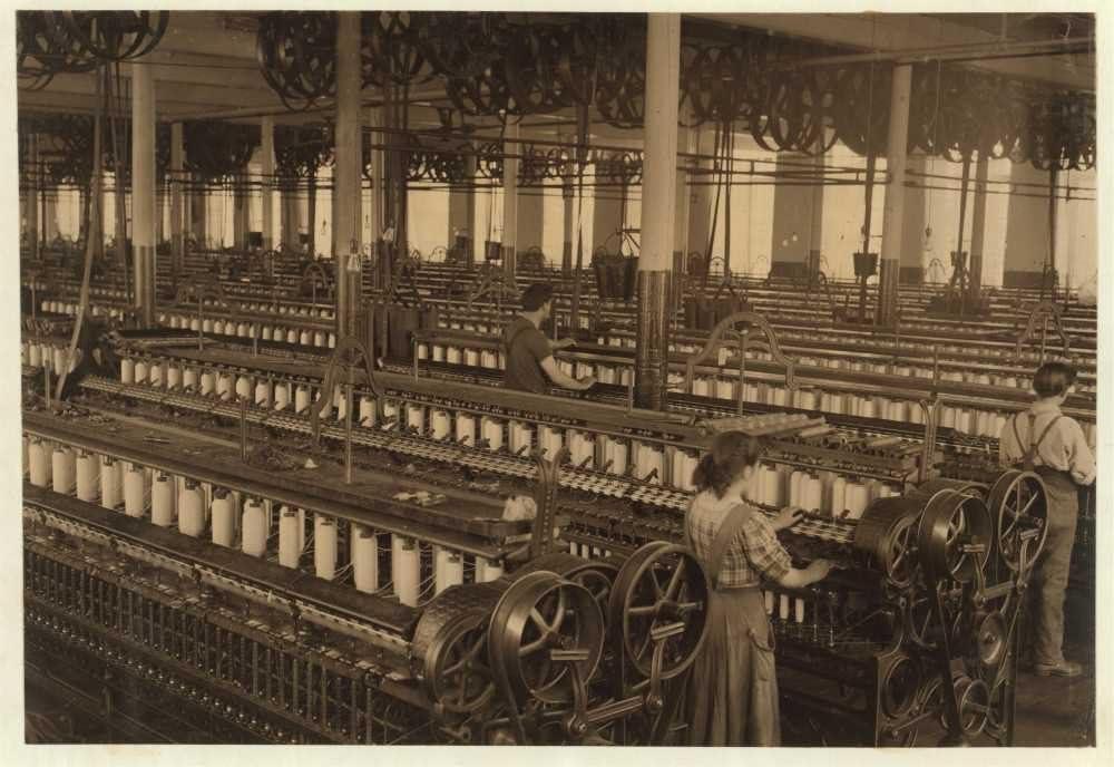 1912 foto la Flint molinillo de algodón, sala de Spinning ...