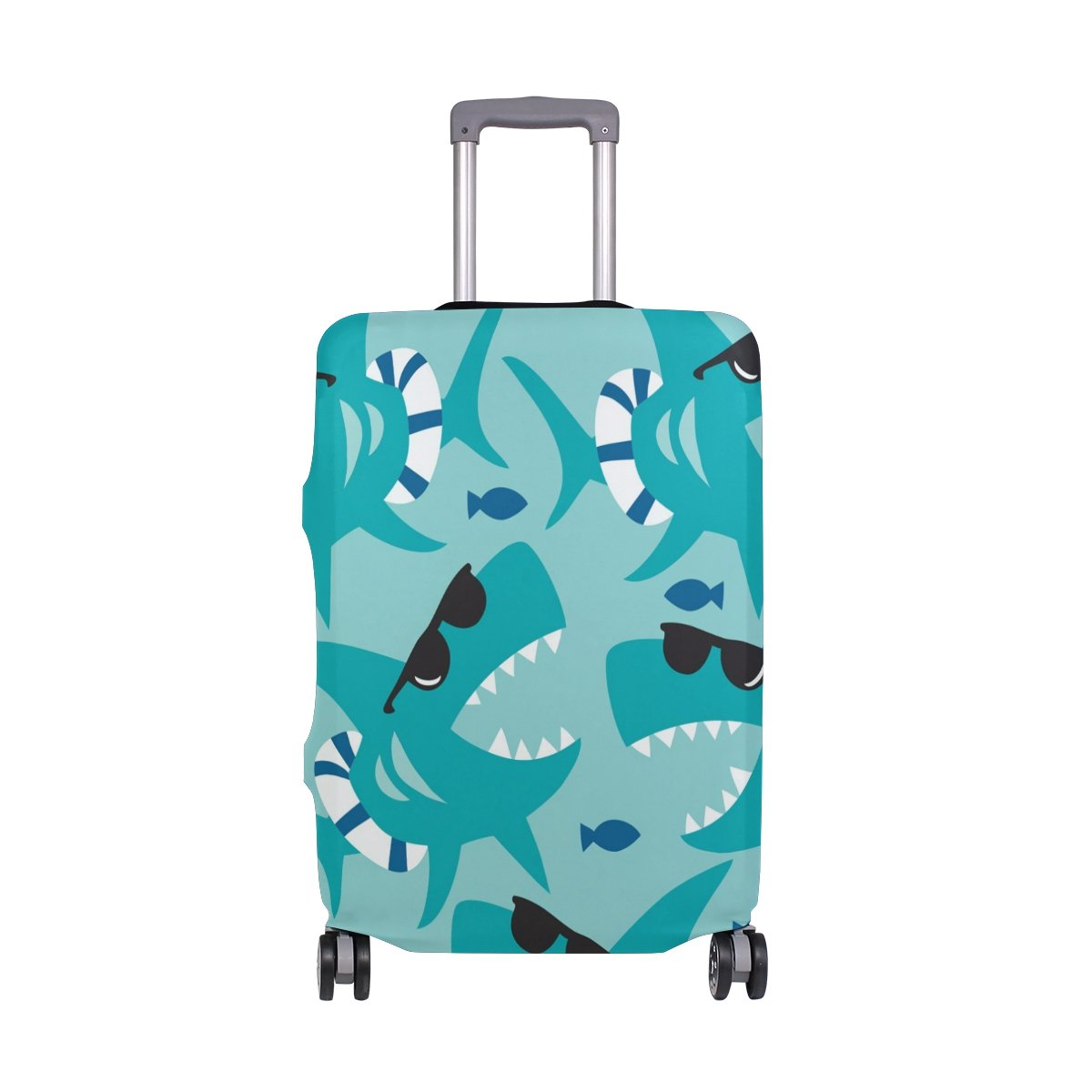 Hello Summer Shark Ocean Sea Beach Suitcase Luggage Cover Protector for Travel Kids Men Women
