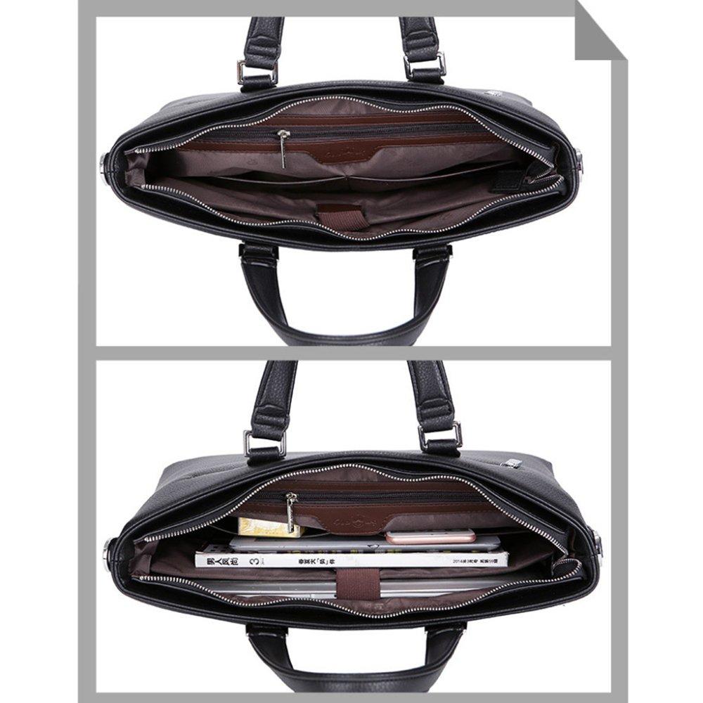 Män 15 tum bärbara laptopväskor PU företag portfölj formell axelväska messenger axelväskor stor topphandtag väska för arbete resa skola Svart