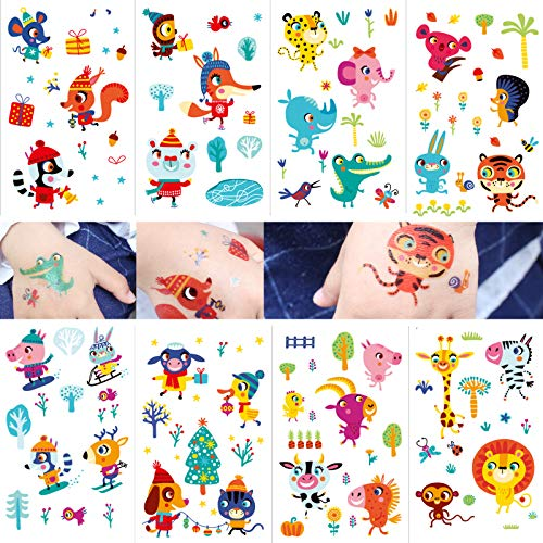 eKoi Kids Children Activity Play Animal Zoo Temporary Tattoo Sticker for Boys Girls Fun Learning Educational Party Art Favor (Winter Park Christmas Assortment) -