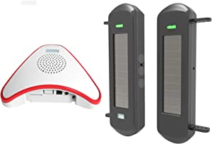 HTZSAFE Solar Wireless Driveway Alarm System- 1/2 Mile Long Transmission Range- 300 Feet Wide Sensor Range- No Wiring No Need Replace Battery- Outdoor Weatherproof DIY Security Perimeter Alert System