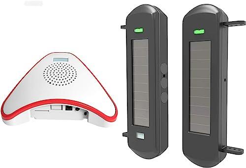 HTZSAFE Solar Wireless Driveway Alarm System- 1 2 Mile Long Transmission Range- 300 Feet Wide Sensor Range- No Wiring No Need Replace Battery- Outdoor Weatherproof DIY Security Perimeter Alert System