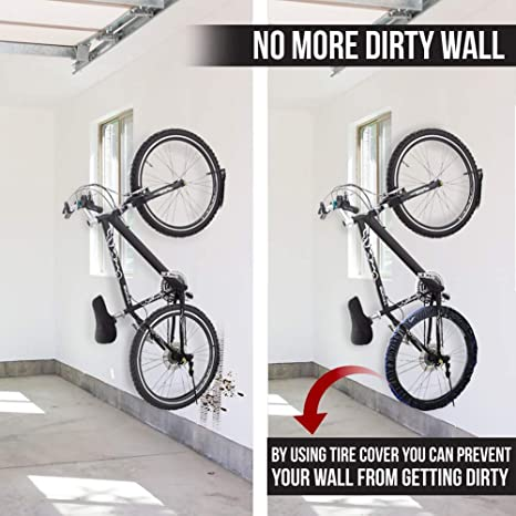 Holds Up to 66 lbs for Mountain Bike Road Bikes BMX 2 pcs Hanging Bike Rack with Anti Dirt Tire Cover Heavy Duty Wall Mount Bike Hanger Hook for Garage Storage System Indoor Shed Screws Included