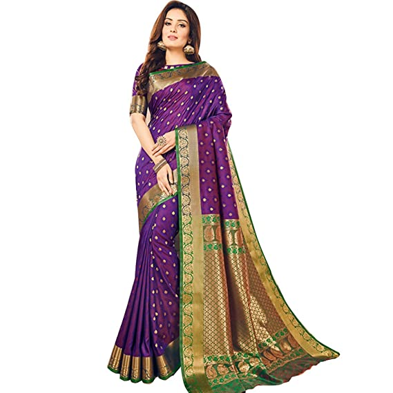 0d5427779821b3 Image Unavailable. Image not available for. Colour: Craftsvilla Women's Silk  Blend Purple Saree with Butta Work ...