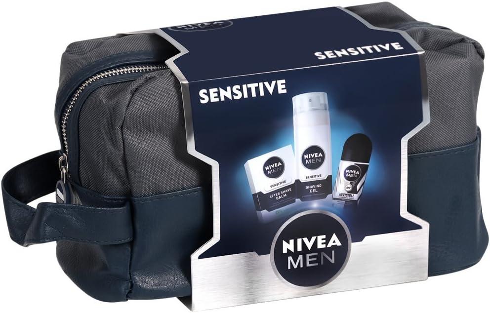 Nivea Sensitive – regalo para hombre – Loción para después del afeitado, gel de afeitar, roll-on y neceser: Amazon.es: Belleza