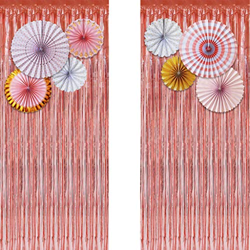 Rose Gold Metallic Tinsel Foil Fringe Curtains (Set of 2) - Party Photo Booth Backdrop + 8 Paper Fans Flower Hanging Banner - Party Decorations Supplies Set for Bachelorette Birthday Bridal Shower ()