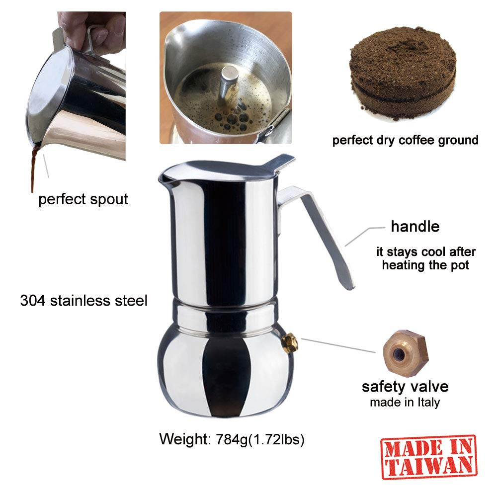 Début - Stainless Steel Italian Espresso Coffee Maker, Stovetop Moka Pot, Greca coffee maker, Latte Cappuccino Percolator for Full Body Coffee, 6 Cups by Début (Image #3)