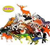 BBLIKE Jungle Animals Figure Dinosaur Figure and Sea Animals Figure, 60 Piece Plastic Mini Animals Party Favors Party Bag Filler Best Gift Set