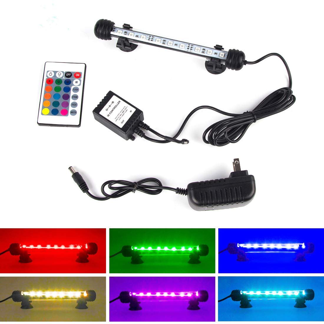 S SMIFUL Aquarium Light Fish Tank LED Lights Submersible Underwater Colorful Strip for Background Decorations Glofish Plant Lighting, 7.5'' - Colorful by S SMIFUL