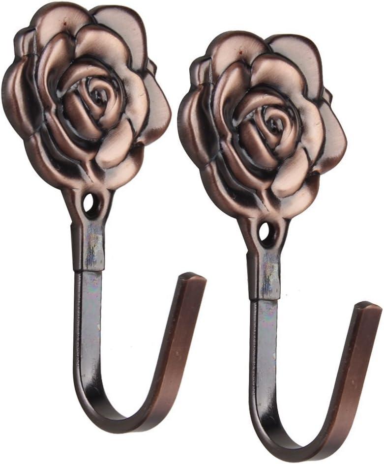 Vintage Rose Vorhang Raffhalter Quaste Haken Tuer Wandhaken Antikes Kupfer Iycorish 2 STK
