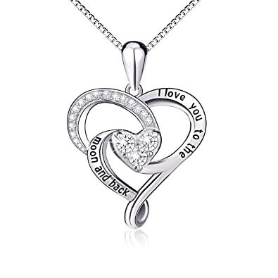 Amazon 925 sterling silver jewelry i love you to the moon and 925 sterling silver jewelry quoti love you to the moon and backquot love aloadofball Gallery