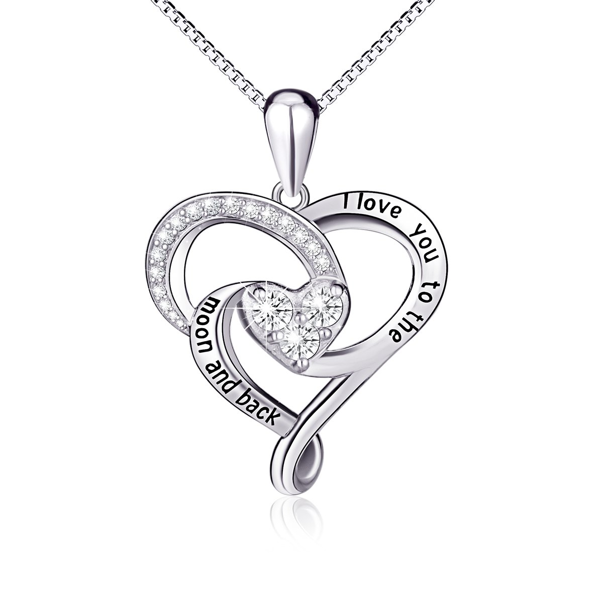 925 Sterling Silver Jewelry ''I Love You To The Moon and Back'' Love Heart Pendant Necklace