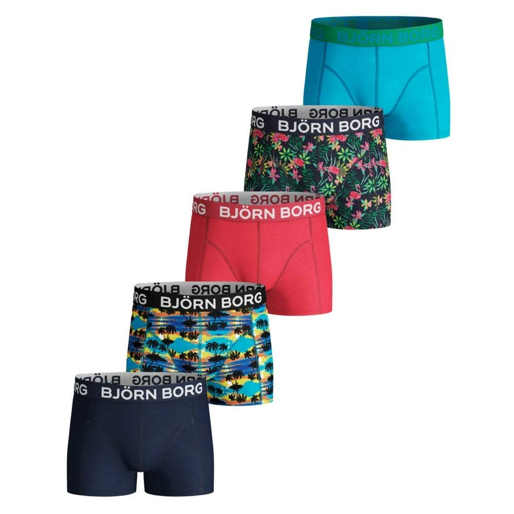 Bjorn Borg 5-Pack Hawaii Prints & Solid Boys Boxer Trunks, Multi Age 12-14 Blue/Red/Green