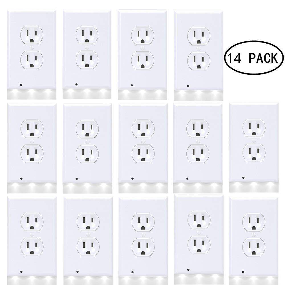 Guidelight Outlet Wall Plate With LED Night Lights, Outlet Cover With No Battery and Wires Easy Installation In Seconds For Home Kitchen Bedroom Hallway Stairway Garage Utility Room by Smart Eletrical (Image #1)