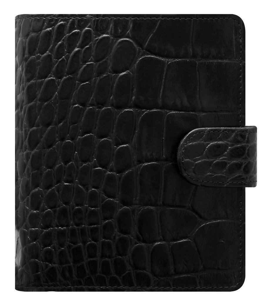 Filofax Classic Croc Print Leather Organizer Agenda Calendar with DiLoro Jot Pad Refill (Pocket Ebony 2019-2020)