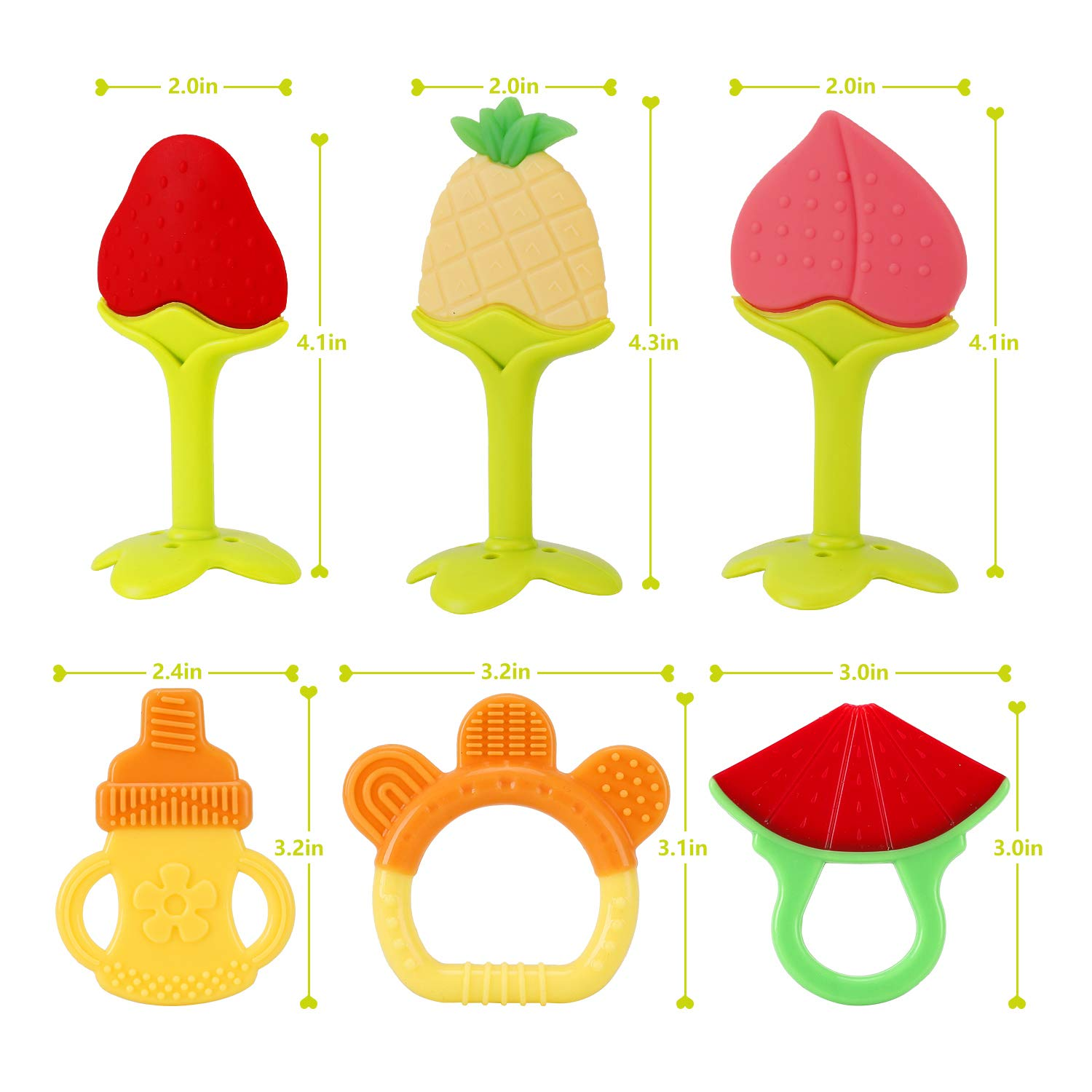 Soft /& Textured Babies Shower Gift Silicone BPA Free Natural Organic Freezer Safe Teethers for Newborn Infant SLotic Baby Teething Toys 6 Pack