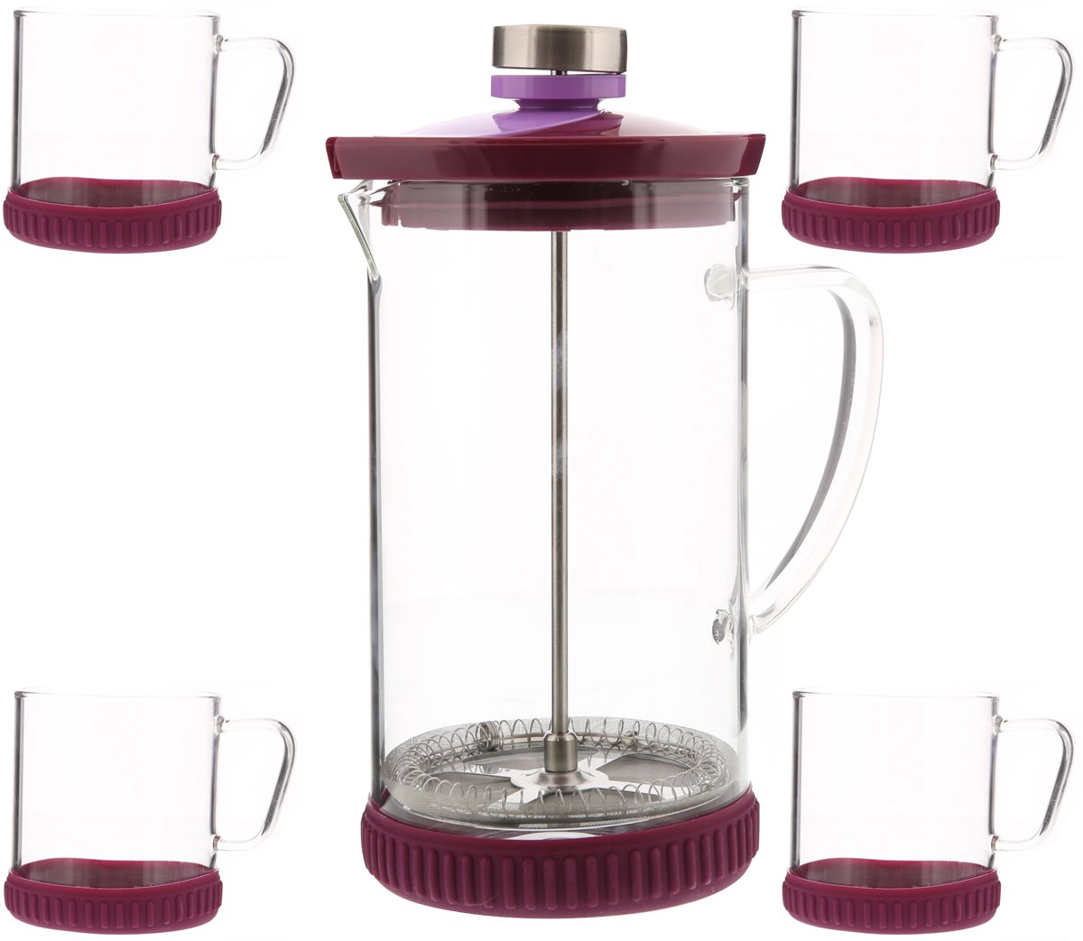 French Coffee Press - Coffee Maker - Glass Tea Infuser with 4 Cups - Color May Vary