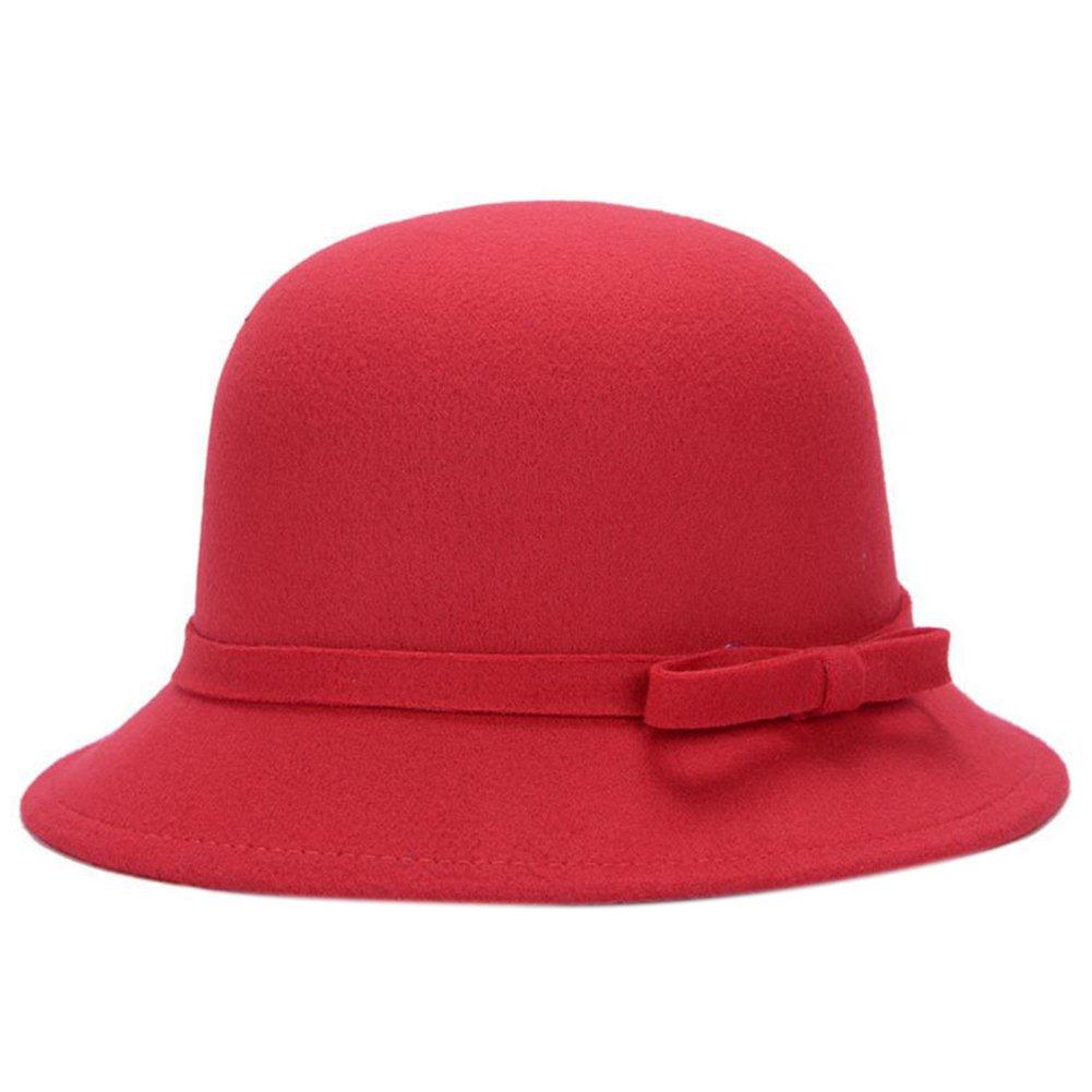 Dosige Mujer Sombrero Hongo Gorra Bombín con Visera Curvada Bowler Hat Sombrero Boina para Cálido Go...